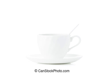 White cup of coffee isolated on white background