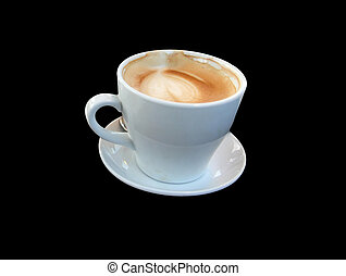 White Cup of coffee latte on black background