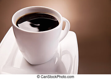 Cup of coffee on a beautiful brown background