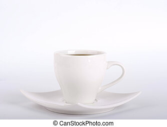 White cup of coffee on a white background