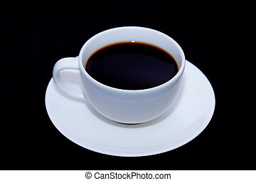 White cup of coffee on black background
