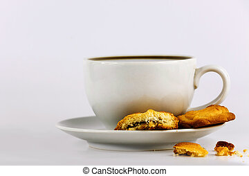 white cup of coffee with cookies