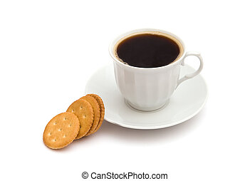 White cup of coffee with crackers