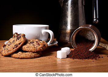 White cup of coffee with oat cookies