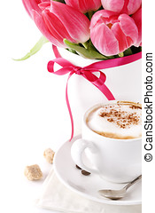 coffee - white cup of coffee with pink tulips in a vase