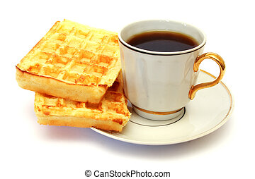 white cup of coffee with waffle