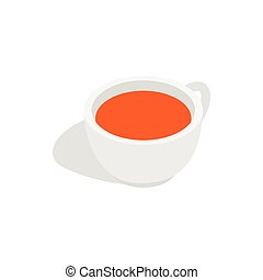 White cup of tea icon, isometric 3d style