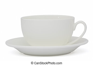 White cup of tea, isolated on white background, with clipping path