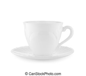 white cup on a plate isolated