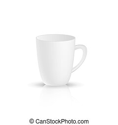 White cup on a white background