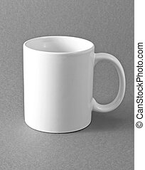 White cup on gray background.