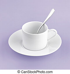 white cup on purple background