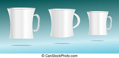 white cup set on abstract 3d background