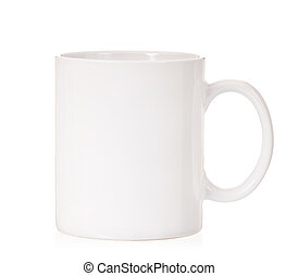 White cup - Single white cup, isolated on white background