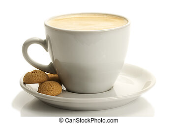 white cup with coffee and amarettini on white background