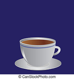 White cup with coffee or tea