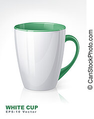 White cup with green elements.