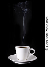 white cup with hot coffee and steam on black