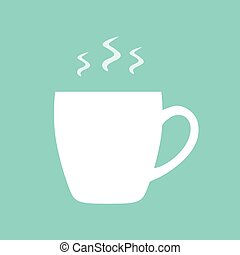 white cup with hot coffee or tea- vector illustration