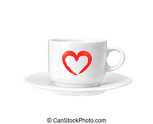 White cup with red heart isolated on white