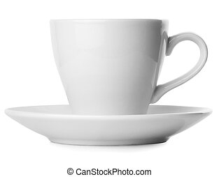 White cup with saucer isolated on white background