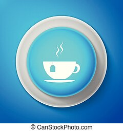 White Cup with tea bag icon isolated on blue background. Circle blue button with white line. Vector Illustration