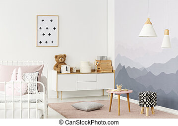 White cupboard in room
