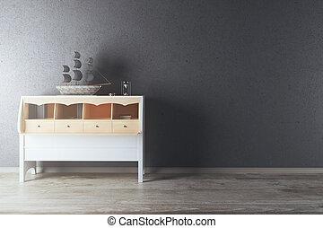 White cupboard with ship in dark interior