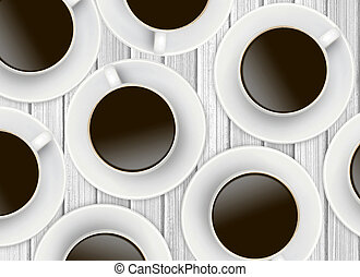 White cups of coffee on wooden background