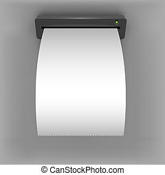 White curled paper check going out from ATM slit design...
