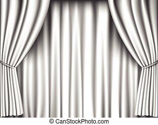 White Curtain Retro Background Stage
