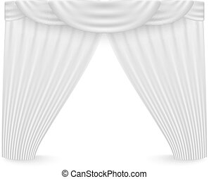 White curtains on a white background. Vector