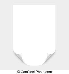 White Curved Corner paper. High resolution color...