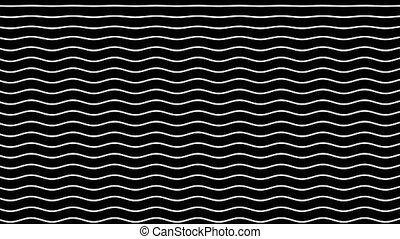 White curved lines move up on a black background. Graphic...