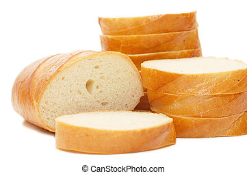 White cut bread isolated on white background
