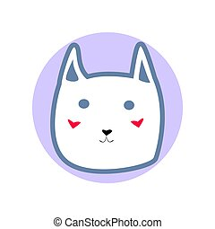 White cute cartoon style cat in shape of blue circle vector illustration