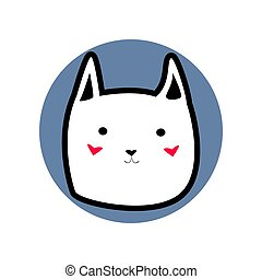 White cute cartoon style cat with black outline in shape of blue circle vector illustration