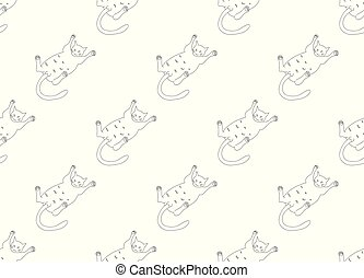 White Cute Cat Laying on Back Seamless Background