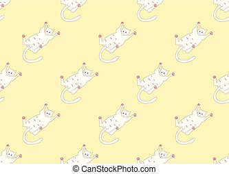 White Cute Cat Laying on Back Seamless Yellow Background