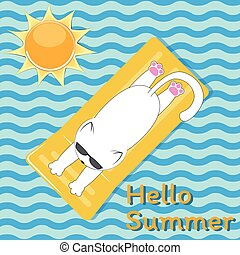 White cute cat with glasses sunbathes on the sea on a yellow mattress.