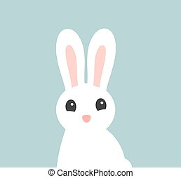 White cute Easter bunny.