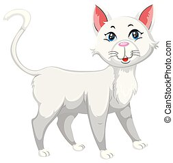 White cute pet cat illustration