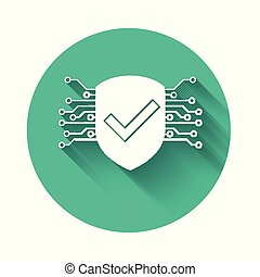 White Cyber security icon isolated with long shadow. Shield with check mark sign. Safety concept. Digital data protection. Green circle button. Vector Illustration