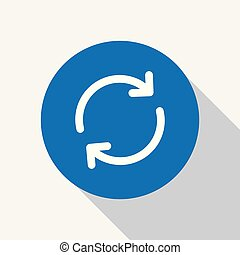White cycle, rotation arrow icon in blue circle.