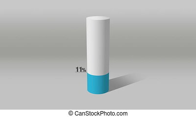 white cylinder diagram indicate 80% - Growing 3D Cylinder...