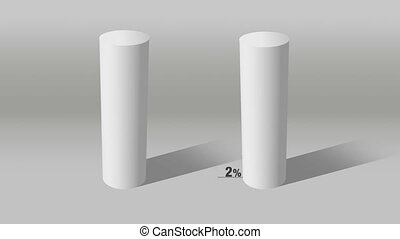 white cylinder indicate 10% and 90% - Growing 3D Cylinder...