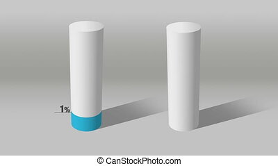 white cylinder indicate 50% and 10% - Growing 3D Cylinder...
