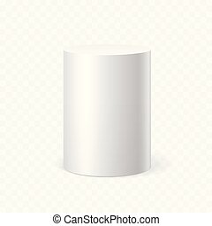 White cylinder on transparent background. Vector...