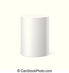White cylinder on white background. Vector illustration