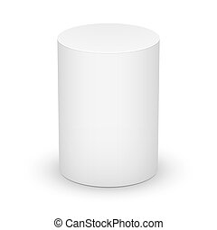 White cylinder on white background. - White blank cylinder...